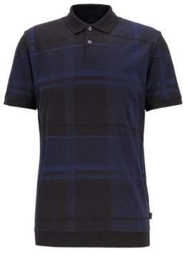 BOSS Hugo Windowpane check polo shirt in mercerized-cotton fil-coupe intarsia M Open Blue