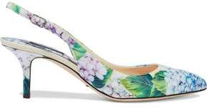 Dolce & Gabbana Floral-Print Patent-Leather Slingback Pumps