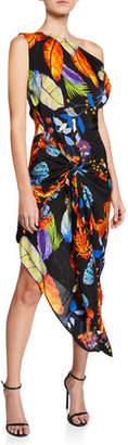 Pinko Ivana One-Shoulder Tropical Leaf Twill Dress