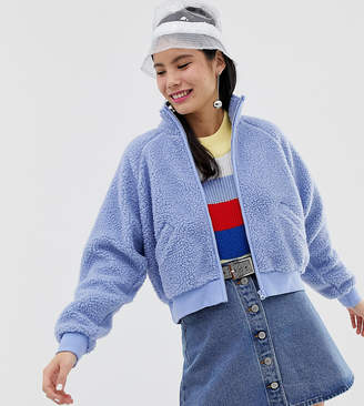 Monki pile zip up jacket in blue