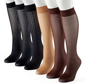 Apt. 9 Women's 6-pk. Assorted Cable Knit Trouser Socks