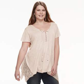 04a45ec39a9 Plus Size World Unity Lace Shark-Bite Top