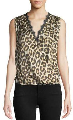 Velvet Vada Leopard-Print Sleeveless Top with Lace Trim