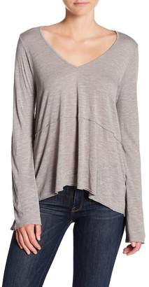 Michael Stars V-Neck Peplum Long Sleeve Tee
