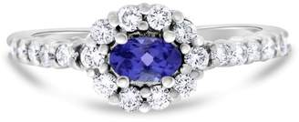 14k White Gold 0.84ct. Oval Tanzanite and Diamond Halo Promise Ring Size 6