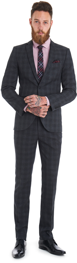 Moss London Slim Fit Grey Textured Check Suit