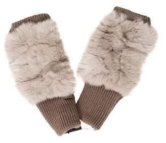 Jocelyn Fur-Trimmed Fingerless Gloves w/ Tags