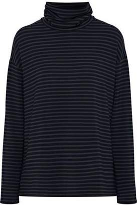 Majestic Filatures Striped Fleece Turtleneck Top
