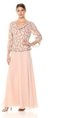 J Kara Women's Petite Three Quarter Sleeve Beaded Dress