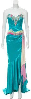 Terani Couture Strapless Embellished Evening Gown