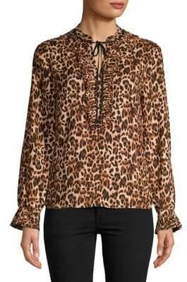 Isaac Mizrahi IMNYC Tied Leopard Splitneck Ruffle Blouse