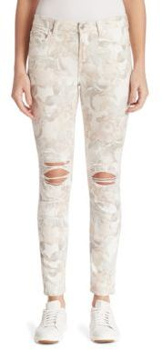7 For All Mankind Distressed Floral-Print Ankle Skinny Jeans $219 thestylecure.com