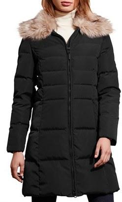 Women's Lauren Ralph Lauren Quilted Faux Fur Collar Coat $290 thestylecure.com
