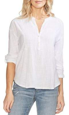 Vince Camuto Tab Cuff Soft Texture Henley Top