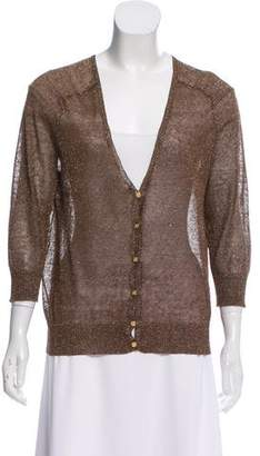Tory Burch Linen V-Neck Cardigan