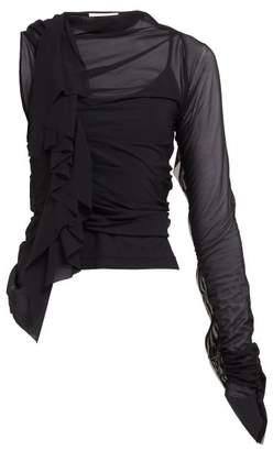 Maison Margiela Ruffle Trimmed One Shoulder Mesh Top - Womens - Black