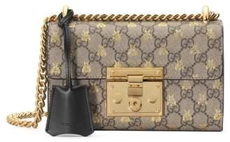 Gucci Small Padlock GG Supreme Bee Shoulder Bag
