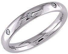 CONCERTO 14K White Gold Wedding Band with 0.16 Total Carat Weight Diamonds
