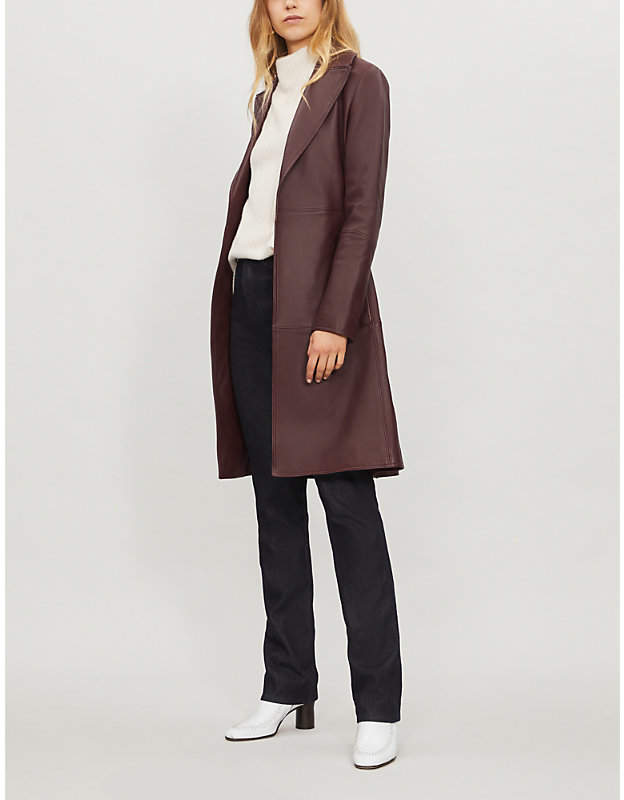 Cinched leather trench coat