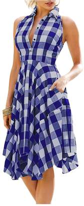 Kumer Women Sleeveless Side Pockets Plaid Pleated Irregular Hem Casual Shirt Dress