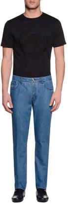 Stefano Ricci Five-Pocket Slim-Fit Denim Jeans, Light Blue