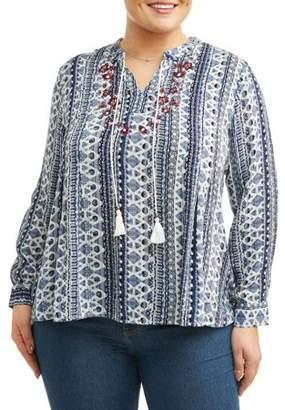Cherokee Women's Plus Long Sleeve Peasant Tunic