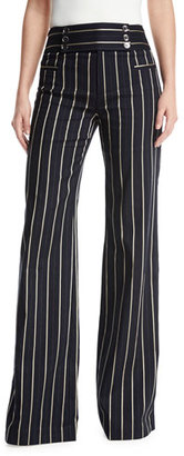 Nanette Lepore Marinaio Striped Flare Sailor Pants, Blue $398 thestylecure.com