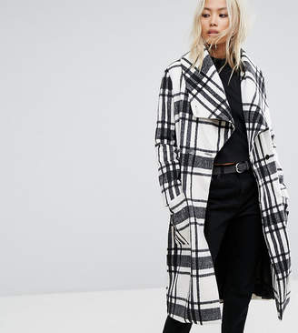 Religion Wrap Front Coat In Soft Brushed Check