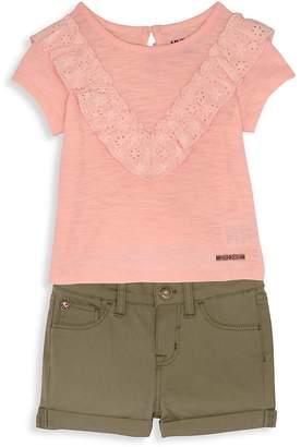 Hudson Little Girl's Two-Piece Short Set - Blush-green, Size 4t