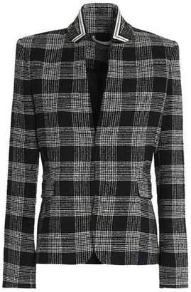 Alice + Olivia Harris Appliquéd Checked Bouclé-Tweed Blazer