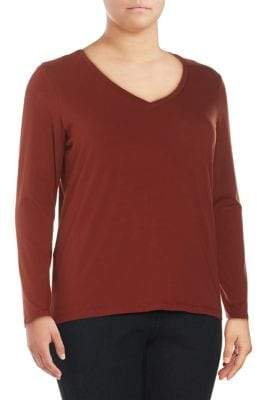 Lord & Taylor Plus Long-Sleeve Essential V-Neck Tee