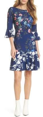Eliza J Floral Bell Sleeve Dress