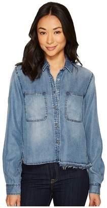 7 For All Mankind Step Hem Denim Shirt w/ Released Hem in Mineral Blue Women's Clothing