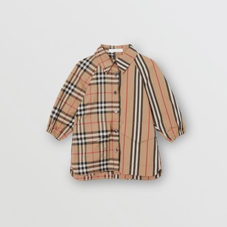 Burberry Vintage Check and Icon Stripe Cotton Shirt Dress