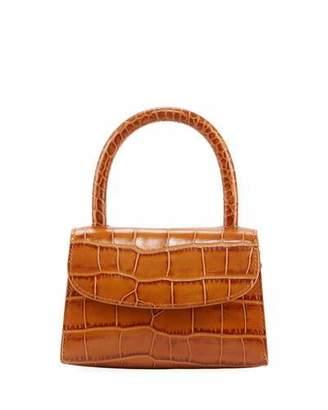 BY FAR Mini Croc-Embossed Leather Top-Handle Bag, Tan