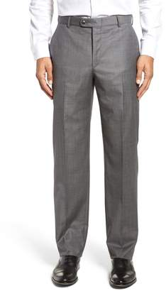 Hickey Freeman Classic B Fit Flat Front Solid Wool Trousers