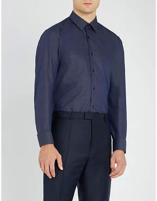 BOSS Business mico checked regular-fit cotton shirt
