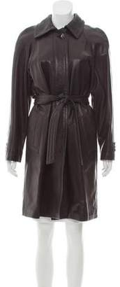 St. John Belted Leather Coat