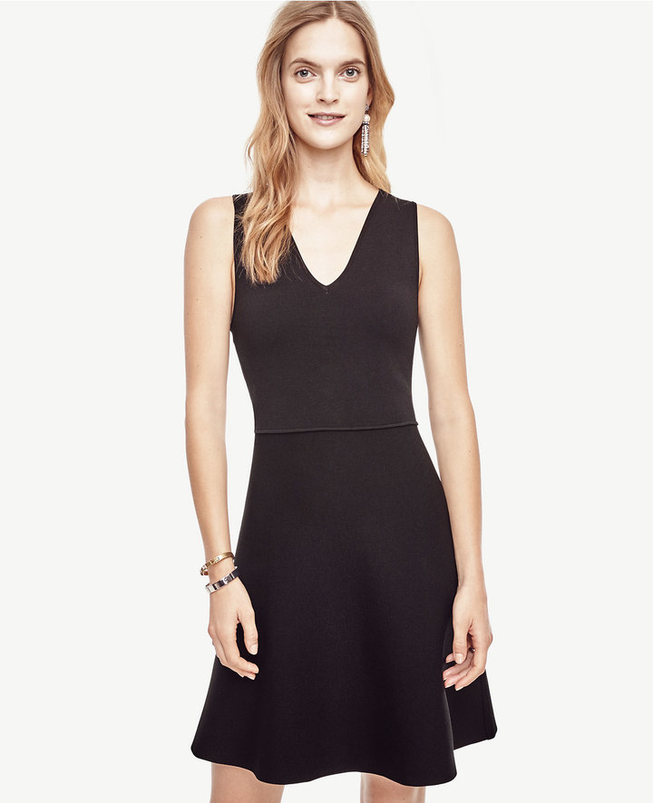 Ann Taylor Petite Sleeveless Flare Sweater Dress