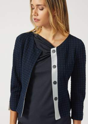 Emporio Armani Jacket In Rhombus-Pattern Fabric With Peplum
