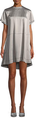 Valentino High-Neck Hammered-Satin Oversized Dress