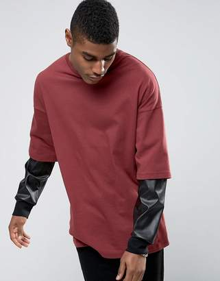 Asos Design Oversized Long Sleeve T-Shirt With Leather Look Double Sleeve