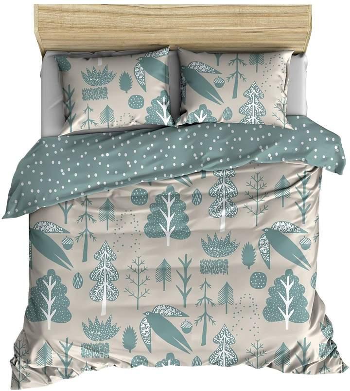 Bettdeckenset Aus Baumwolle Mit Vogeldruck