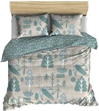 Flying Bird Print Cotton Duvet Cover Set