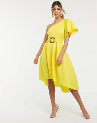 Asos Design DESIGN one shoulder belted prom dress