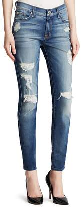 7 For All Mankind Jeans - The Ankle Skinny Destruction in Distressed Authentic Light $225 thestylecure.com
