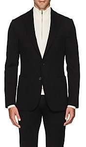D'Avenza Men's Wool Jersey Two-Button Sportcoat-Black