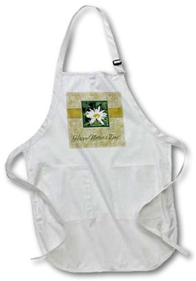 DAY Birger et Mikkelsen 3dRose Shasta Daisy, Beautiful Soft Green and Tan Frame, Happy Mothers Full Length Apron, 24 by 30-inch, White, With Pockets