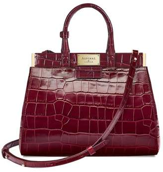 Aspinal of London Small Florence Snap Bag In Deep Shine Bordeaux Croc