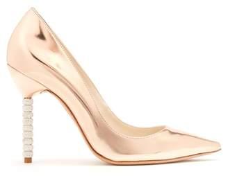 Sophia Webster Coco Crystal Embellished Heel Leather Pumps - Womens - Rose Gold